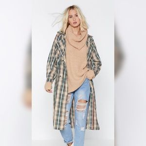 Nasty Gal Plaid Trench Coat Size 8